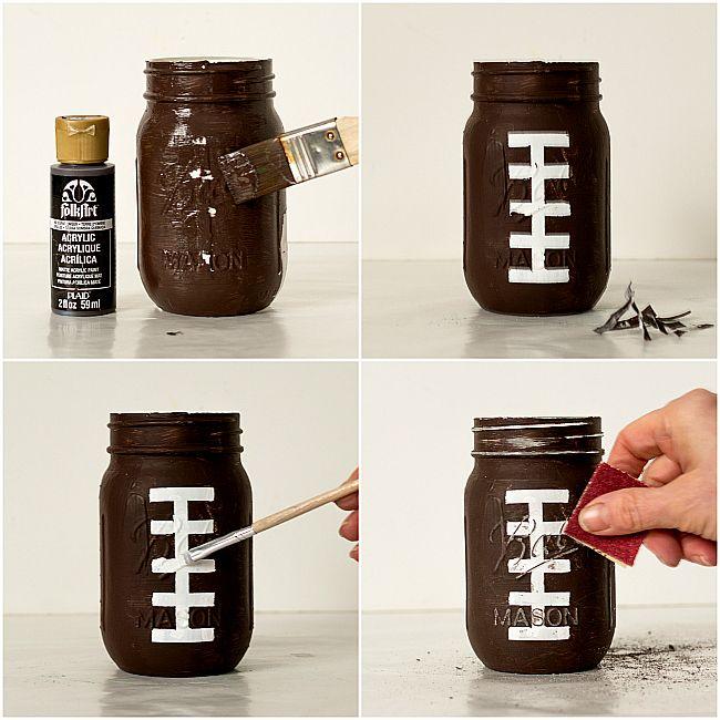 Football Party Mason Jars | Mason Jar Crafts Love