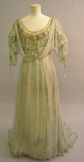 Evening Dress, 1908-1910, silk, pearl, and glass, part of the Messel Dress Collection
