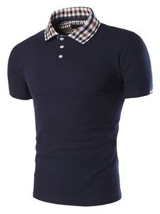 Dark Navy Print Polo Shirt Shaping Cotton Polo Shirt for Men