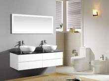 Mobile bagno pensile bianco da 150 cm completo doppio lavabo