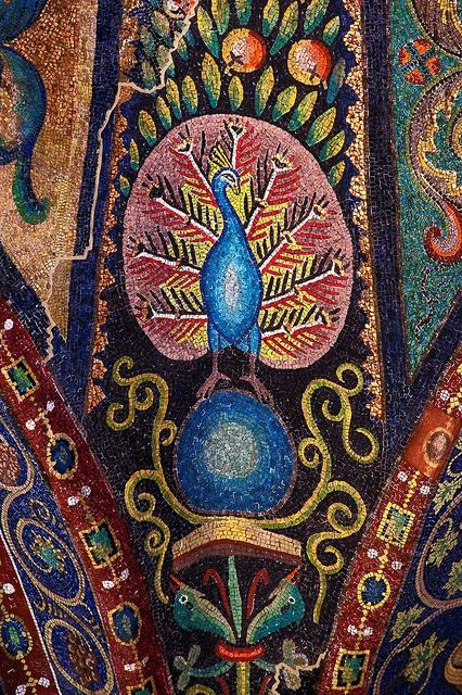 Peacock Mosaic at San Vitale Bascilica in Ravenna, Italy.  Dante was living in Ravenna at the time of his death.  #dante #divinecomedy #ravenna