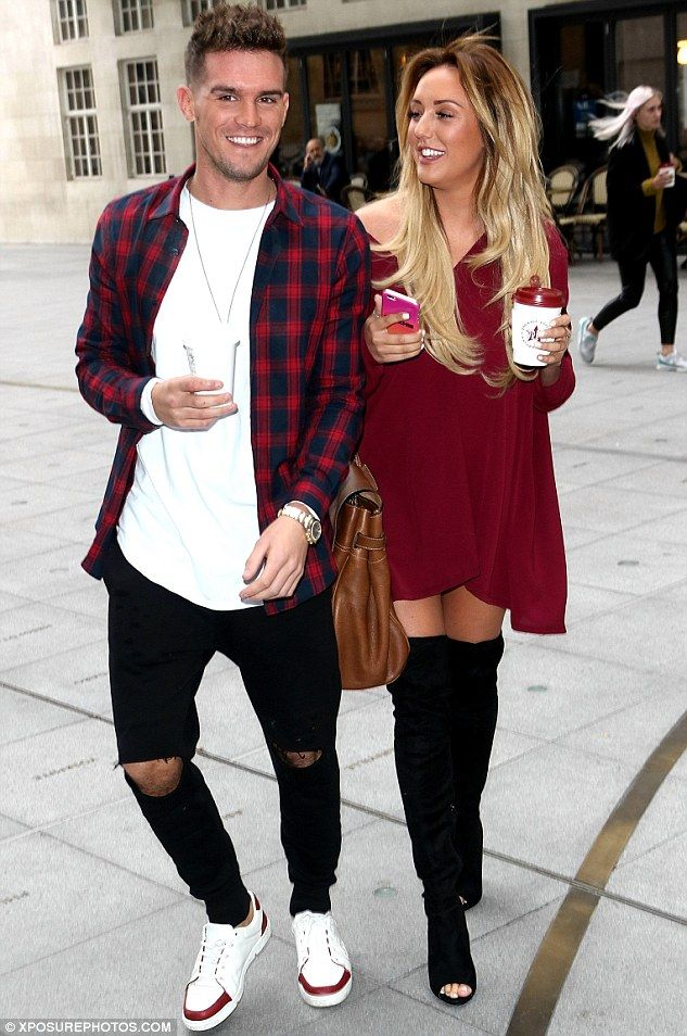 Friends again: Charlotte Crosby, 25, and Garry 'Gaz' Beadle, 27, appeared to be the best of friends once-again, as the two reality stars arrived at the BBC Radio 1 studios, in London, laughing and joking around