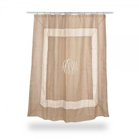 Monogrammed Burlap Shower Curtain IVORY boarder  Font shown MASTER CIRCLE in ivory