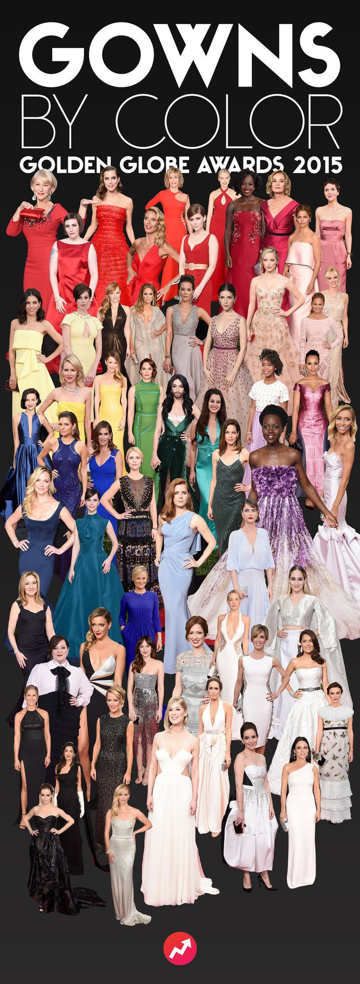 EVERY 2015 GOLDEN GLOBE AWARD GOWNS ARRANGED BY COLOR BLOG — STYLEMYADDICTION.com