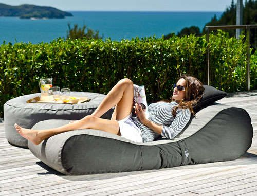 Cushioned Patio Furniture - The Outdoor Bean Bag Lounger Makes Backyard Lifestyles Much More Comfy-- omg I need this for laying out by the pool!!