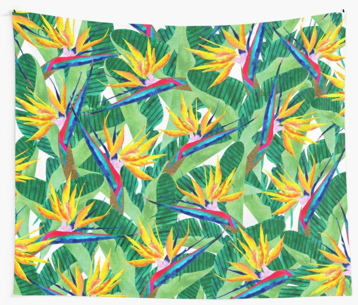 Watercolor collage Bird of Paradise pattern. Summer pattern. • Also buy this artwork on home decor, apparel, stickers, and more.  Bird of Paradise watercolor pattern. Inspired by nature. @redbubble #art #redbubble #redbubbleartist #birdofparadise #pattern #design #tropical #yellow #flowers #botanical #summer #watercolor #artwork #fashion #trends #tapestry #wallart