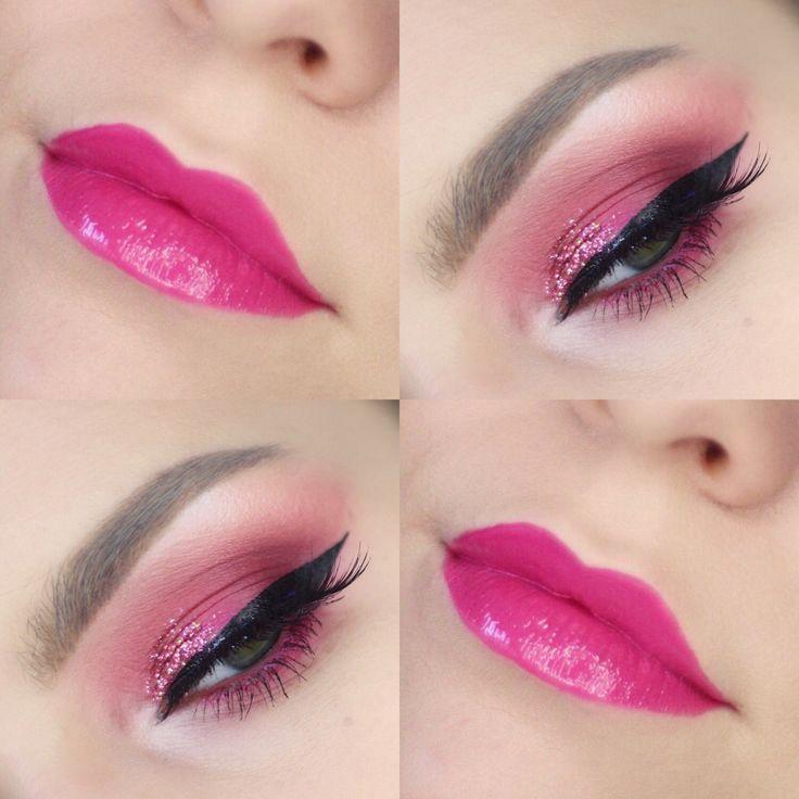 Birthday Glam Makeup Tutorial - HOT PINK GLITTER CUT CREASE | birthday glam, pink glam, pink makeup tutorial, pink eye makeup, glitter cut crease, pink glitter