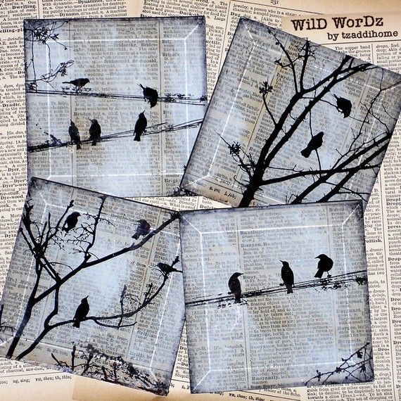 Black Bird Handmade Glass Coaster Set  from Upcycled Dictionary page book art  - WilD WorDz - Carriers of the Word. $34.00, via Etsy.