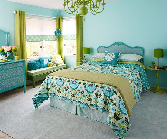 Bold and Bright  http://www.bhg.com/rooms/bedroom/color-scheme/decorate-your-bedroom-in-green/#page=14