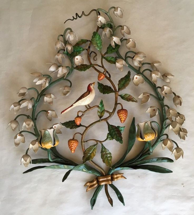 Vintage Italy Tole Metal Candle Wall Sconce Painted Bird ... on Candle Wall Sconces With Flowers id=26172