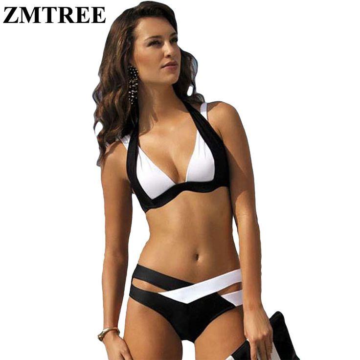 ZMTREE New Sexy Bikinis Women Swimsuit 2017 Push Up Swimwear Female Bikini Set Halter Top Summer Beachwear Plus Size XXXL