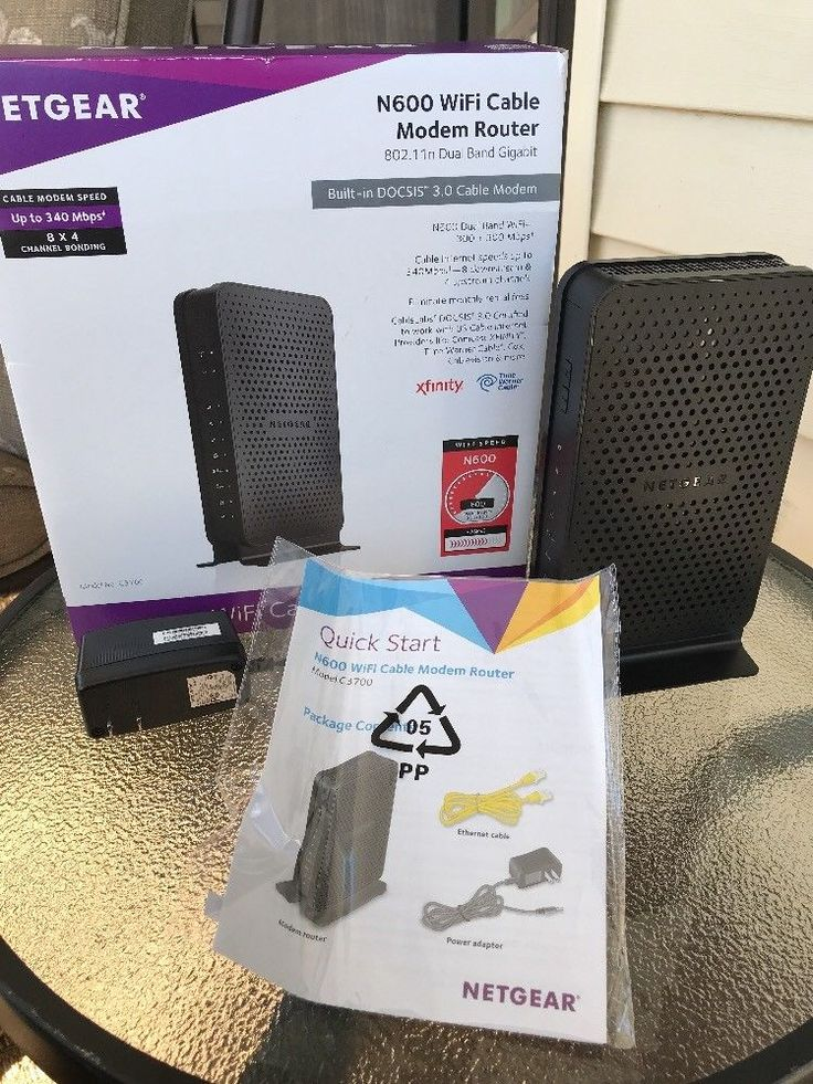 Netgear C3700 N600 WiFi Cable Modem Router Combo Dual Band Time Warner Cable #NETGEAR