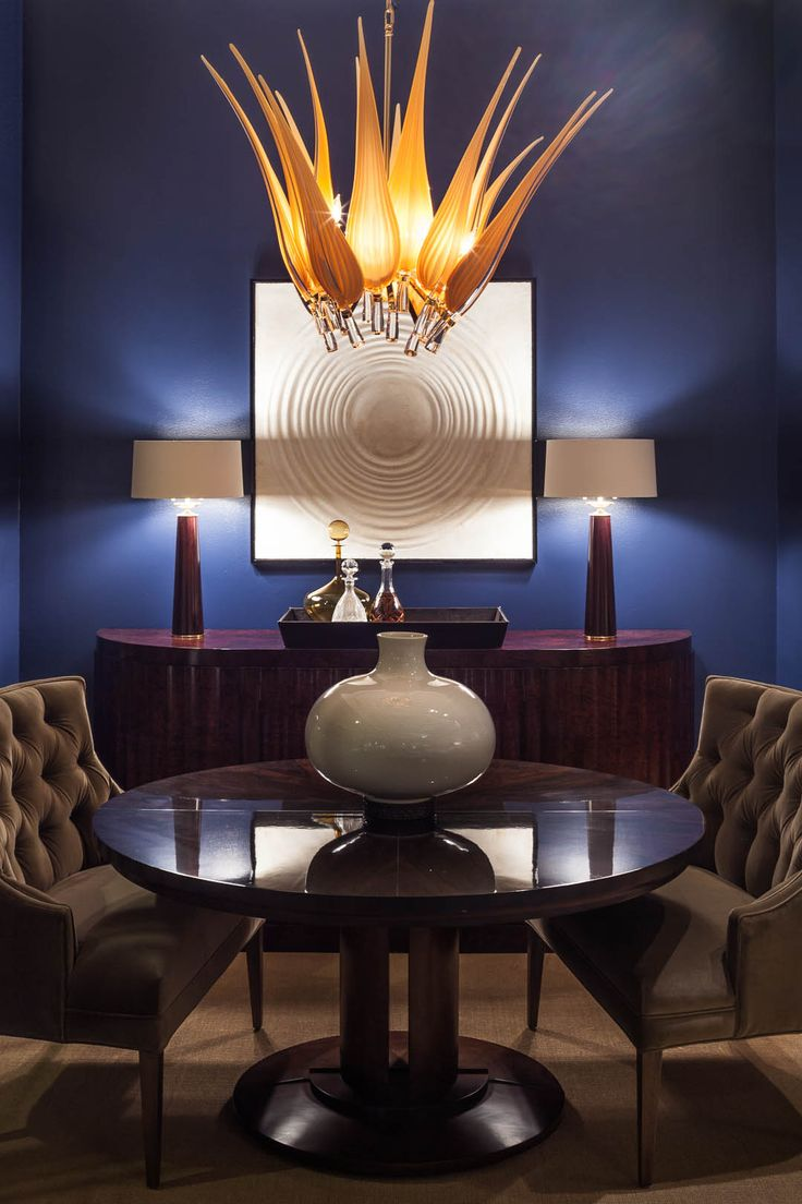 @mussodesign living space featured in ADAC: Behind the Windows. #blue #gold #silver #panels #chairs #rug #chandelier #seating / Spring 2014
