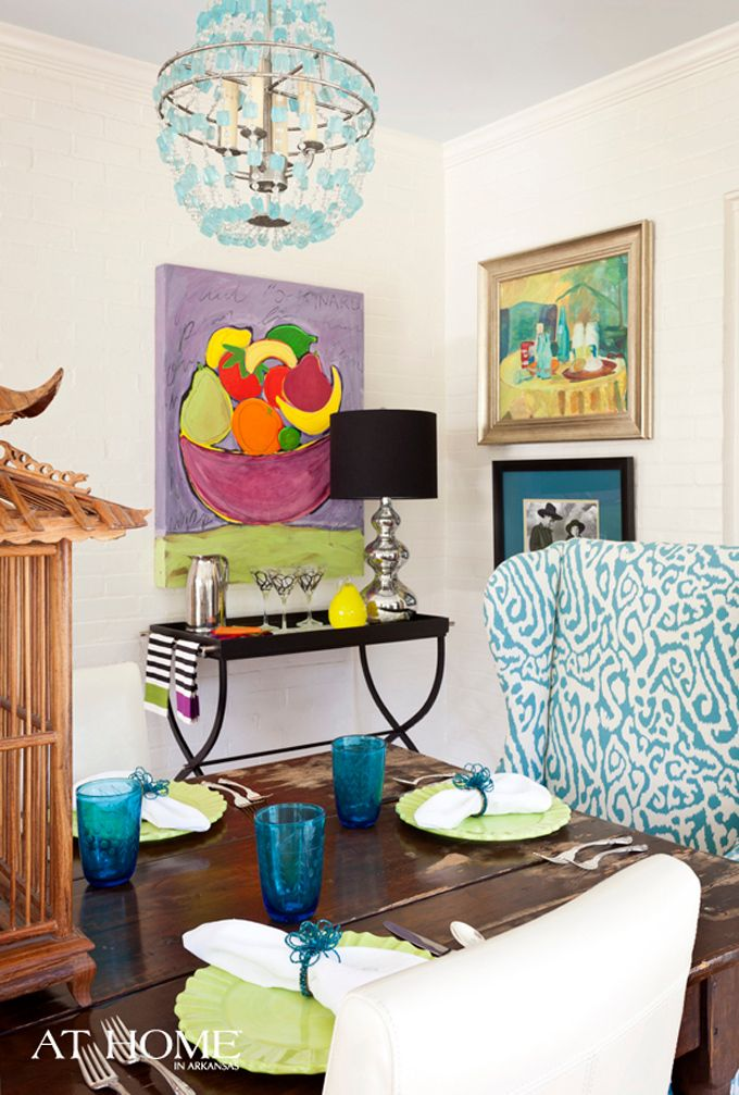 House of TurquoiseDining Rooms, Wall Spaces, Brooks Interiors, Chairs, Ceilings Colors, Happy Colors, Dining Room Colors, Andrea Brooks, Design Andrea