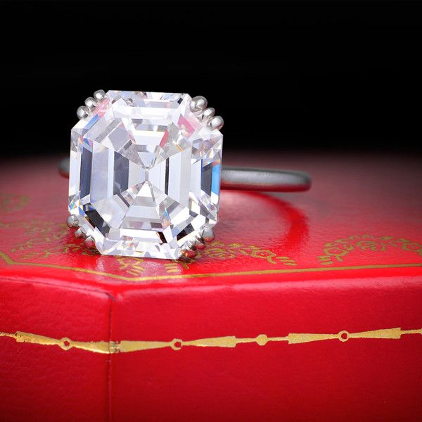 Cartier 8ct. Asscher Cut Diamond Ring : Art Deco Era