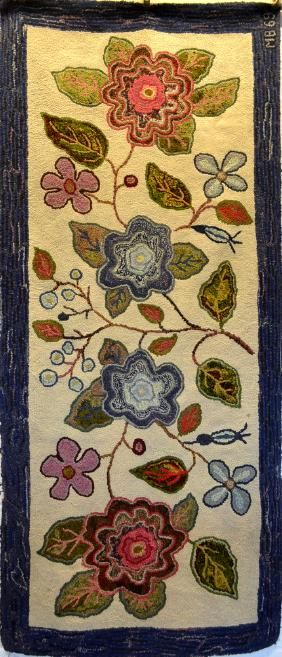 Lot: Folk art hooked hearth rug decorated with large flowers, Lot Number: 0382, Starting Bid: $100, Auctioneer: Hyde Park Country Auctions, Auction: COUNTRY AMERICANA & PRIMITIVES SALE, Date: January 7th, 2017 CST