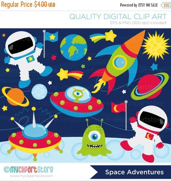 50% OFF SALE Clipart - Space Adventures / Galaxy / Space Ship - Digital Clip Art (Instant Download)