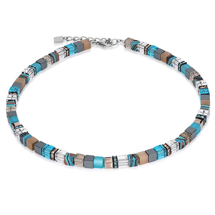 geo cube malachite necklace, coeur de lion jewelry, aqua beige $230