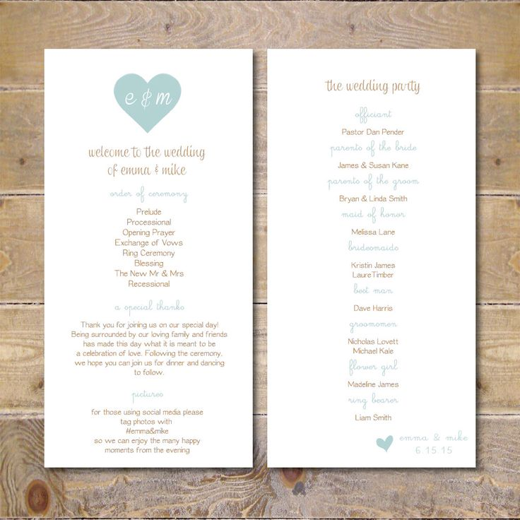 Wedding Programs, Printable Wedding Program, Wedding Program Template, Digital File, Order of Service Card, Order Of Service -Heart Monogram by SweetBellaStationery on Etsy https://www.etsy.com/listing/226542427/wedding-programs-printable-wedding
