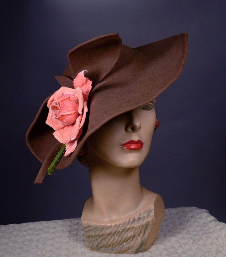 STYLIZED Wide Brim Felt 30s Vintage TILT Hat_LG Rose_Undulating Brim_MABE HATS  | eBay