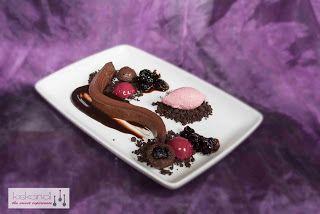 Chocolate ganache, chocolate-cherry sauce, chocolate financier, frozen cherry bavaroise, chocolate crumble, baked cherry in red wine, cherry ice cream