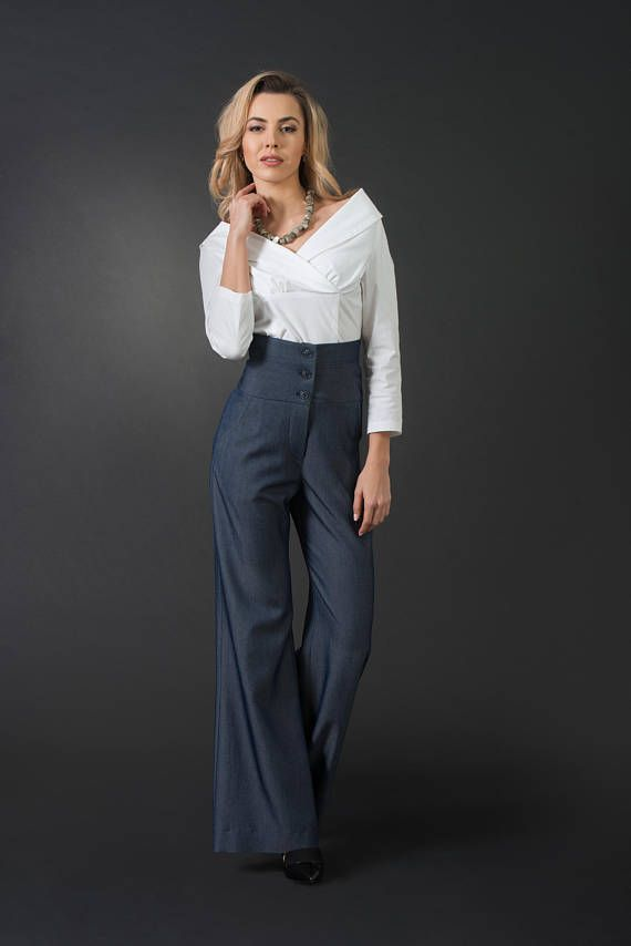 High-waist blue woman palazzo pants 873b226ca