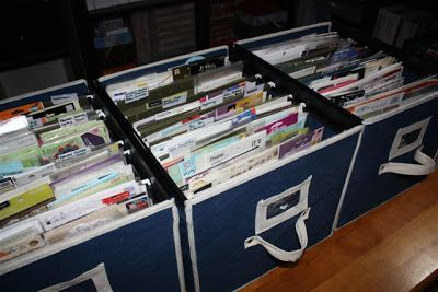 Sticker Storage | Use filing boxes and hang filing folders and segregate each type of stickers, rub-on transfers and also 3D embellishments.  Each folder is labeled according to its kind. | kleirrskreation.blogspot.com  *