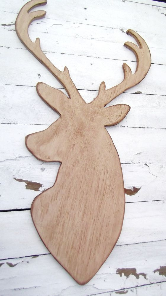 supersized wood deer head sign - rustic baby nursery