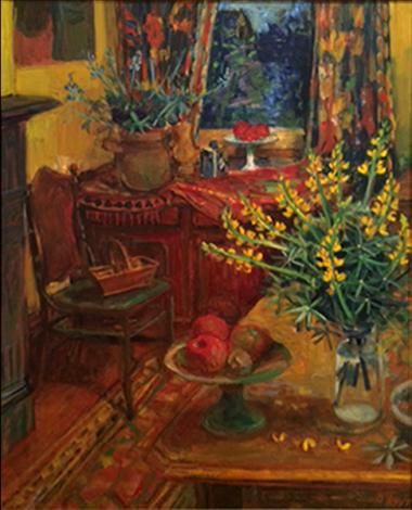 Margaret Olley, Yellow Lupins in Interior, 1991 (Eva Brauer Gallery)