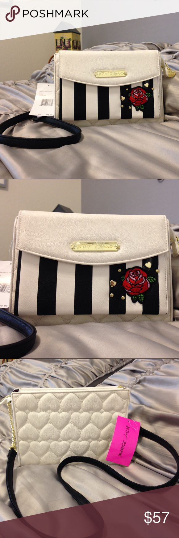 NEW -Betsey Johnson shoulder bag w/built-in wallet NEW -Betsey Johnson shoulder bag w/built-in wallet. Super cute and fun, this white and black striped shoulder bag has embroidered rose detail, built-in wallet and beautiful padded heart pattern on back and bottom. It has a zipper compartment for larger items and large wallet to hold many items. It measures 9 1/2 inches across, 7 inches high and 2 inches wide including wallet. Shoulder strap has partial chain. This is the first time I've seen…