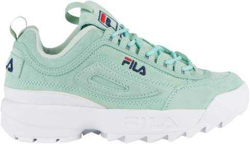 acd7a89601ed Fila Disruptor II Premium Suede - Womens - Turquoise White