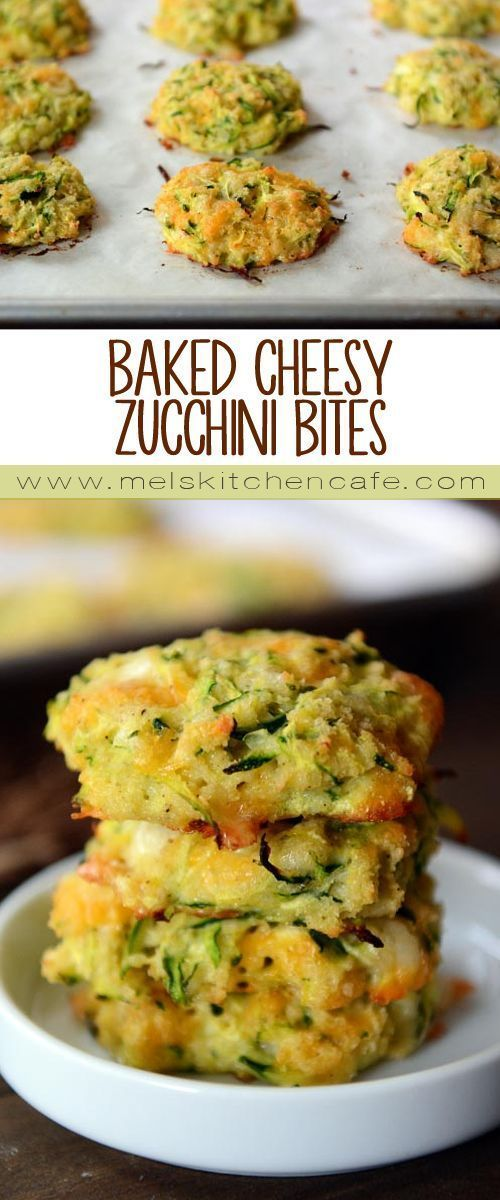 These cheesy zucchini bites are a healthier zucchini fritter without sacrificing any flavor. @melskitchencafe
