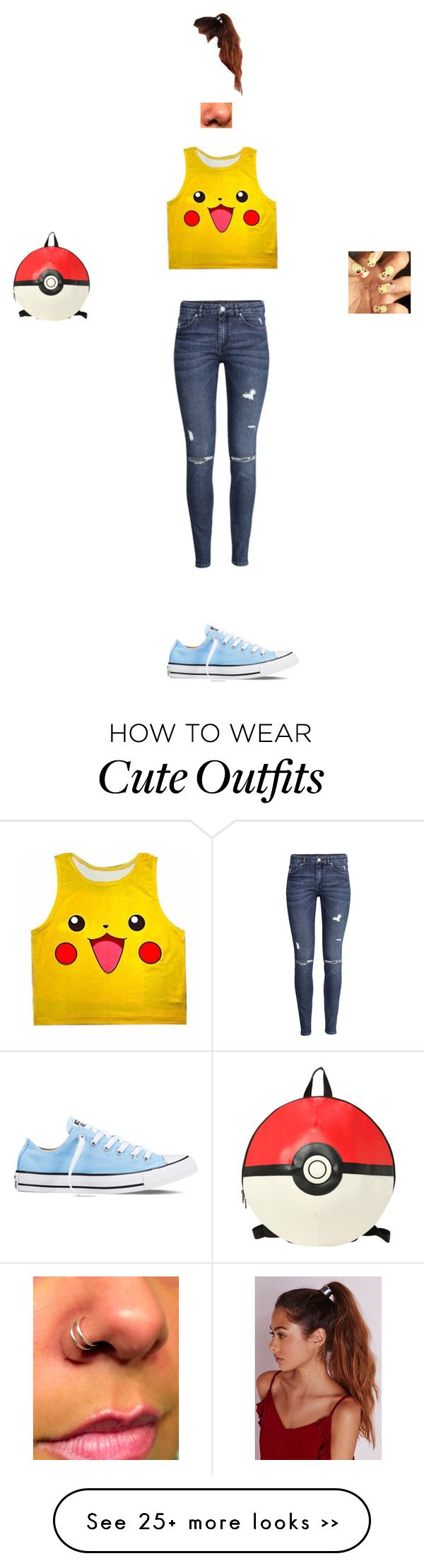 """""""Pokemon outfit"""" by banekatie on Polyvore featuring Converse, H&M and Missguided"""