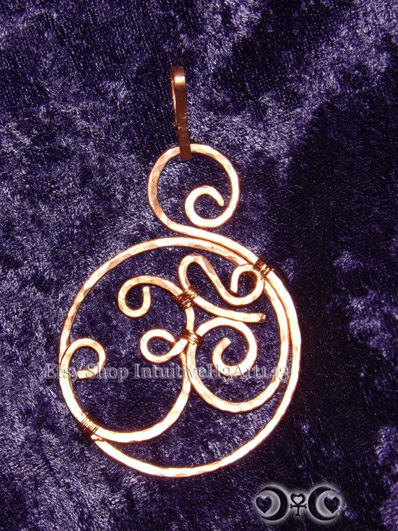Hand Hammered Copper Om Pendant/ Keepsake by IntuitiveH3Art143, $25.00