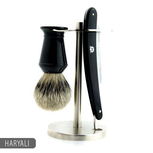 Straight Razor Shaving Kit with Badger hair Shaving Brush & Stand / Holder   eBay