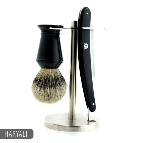Straight Razor Shaving Kit with Badger hair Shaving Brush & Stand / Holder | eBay