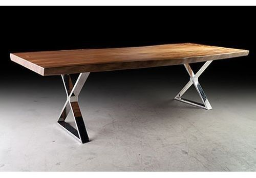 110-L-unique-Dining-table-Desk-Solid-acacia-wood-top-Cross-stainless-steel-legs