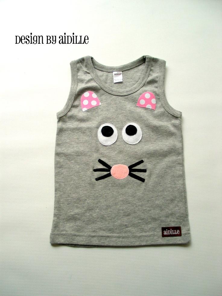 Girls Applique Shirt Mouse Tank Top