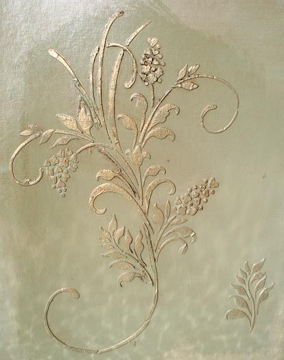 Raised Plaster Fleurs de Amour Stencil is large and creates a luscious raised wallpaper design when repeated randomly over walls.