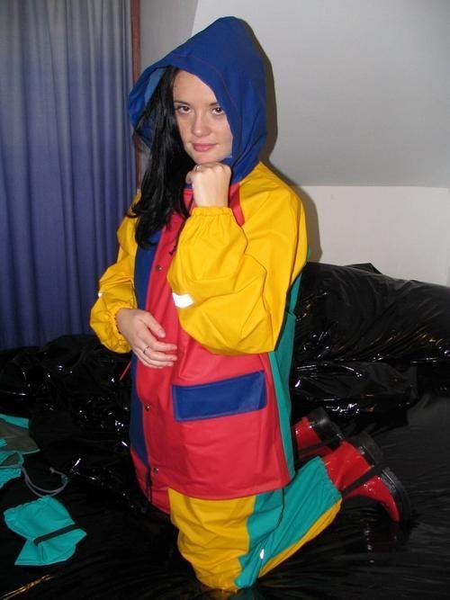 Buy April Rain Rainsuit | Joker | Size:S | Jacket & Pants & Souwester & Mittens | Slippery Plasticfor R850.00