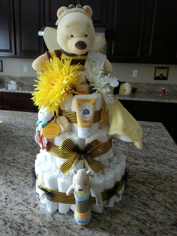 Bumble Bee Diaper Cake With Winnie The Pooh Baby