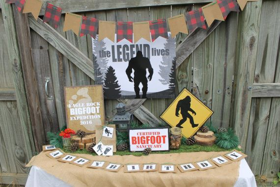 Bigfoot themed party decorations by onecraftyfoxx on Etsy