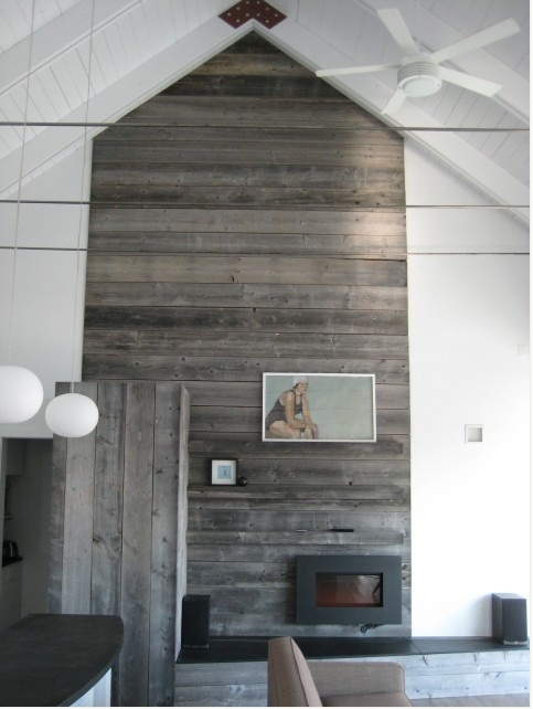 My house.: Weather Wood, Contemporary Living Room, Barns Boards, Wooden Wall, Fireplaces Surroundings, Fireplaces Wall, Wood Wall, Barns Wood, Accent Wall