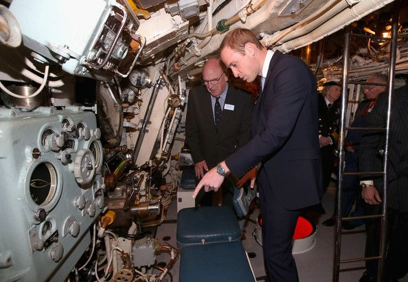 Prince William, Duke of Cambridge is shown the inner workings of the Submarine HMS Alliance as he arrives at the Royal Navy Submarine Museum on May 12, 2014 in Gosport, England.