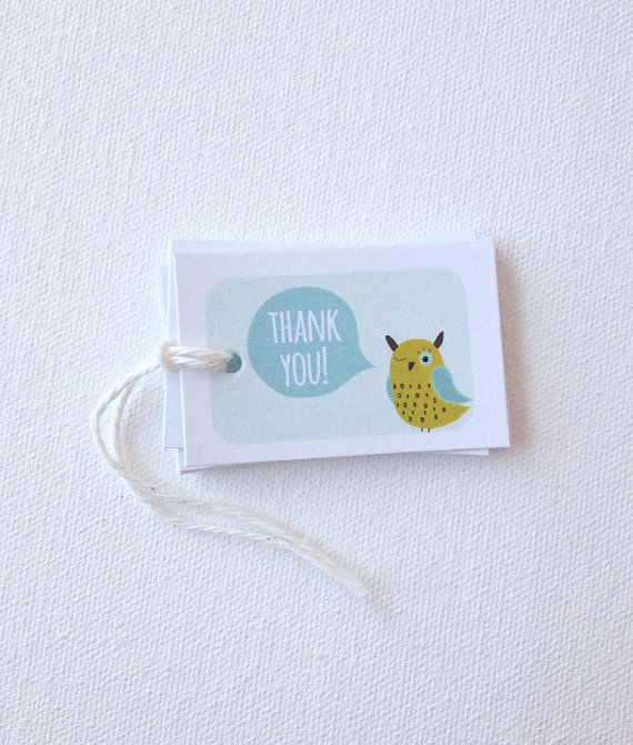 Owl Party favor tags. Hoot owl bird birthday favor tags. Bridal shower baby shower Owl theme party tags. Thank you party favor tags