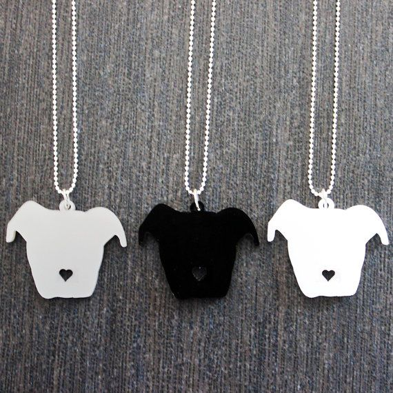 Floppy Ear Pit Bull Head Silhouette w/ Heart Nose Cutout Necklace 10% Proceeds to Pit Bull Organization