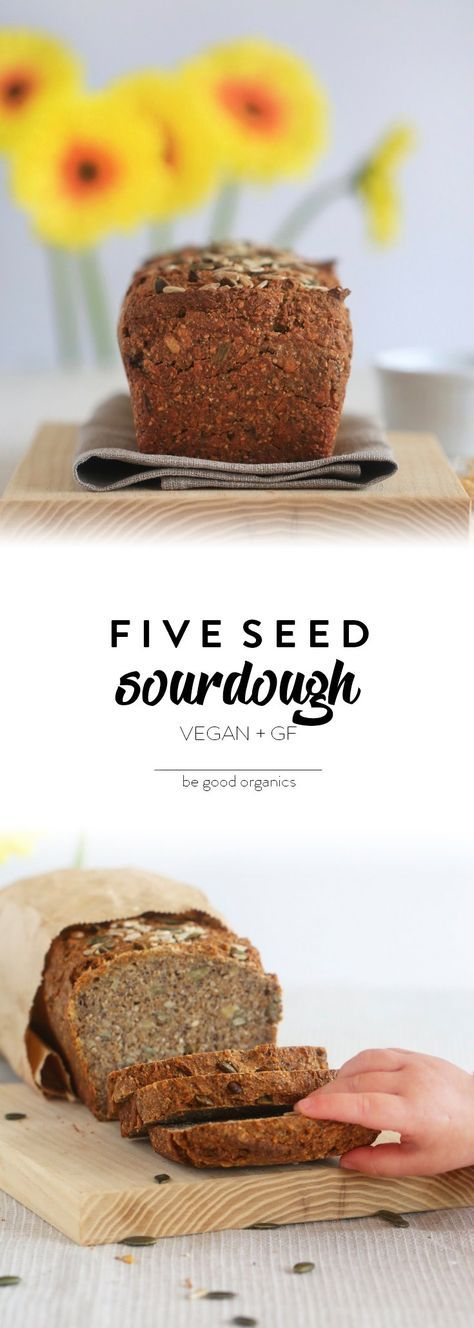 Five Seed Sourdough - Be Good Organics. With rye flour, pumpkin seeds, sunflower seeds, sesame seeds, chia seeds & poppy seeds.