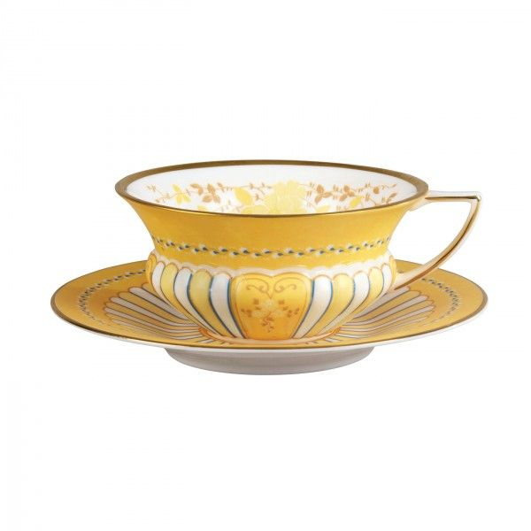 Harlequin Collection Yellow Ribbons Cup and Saucer