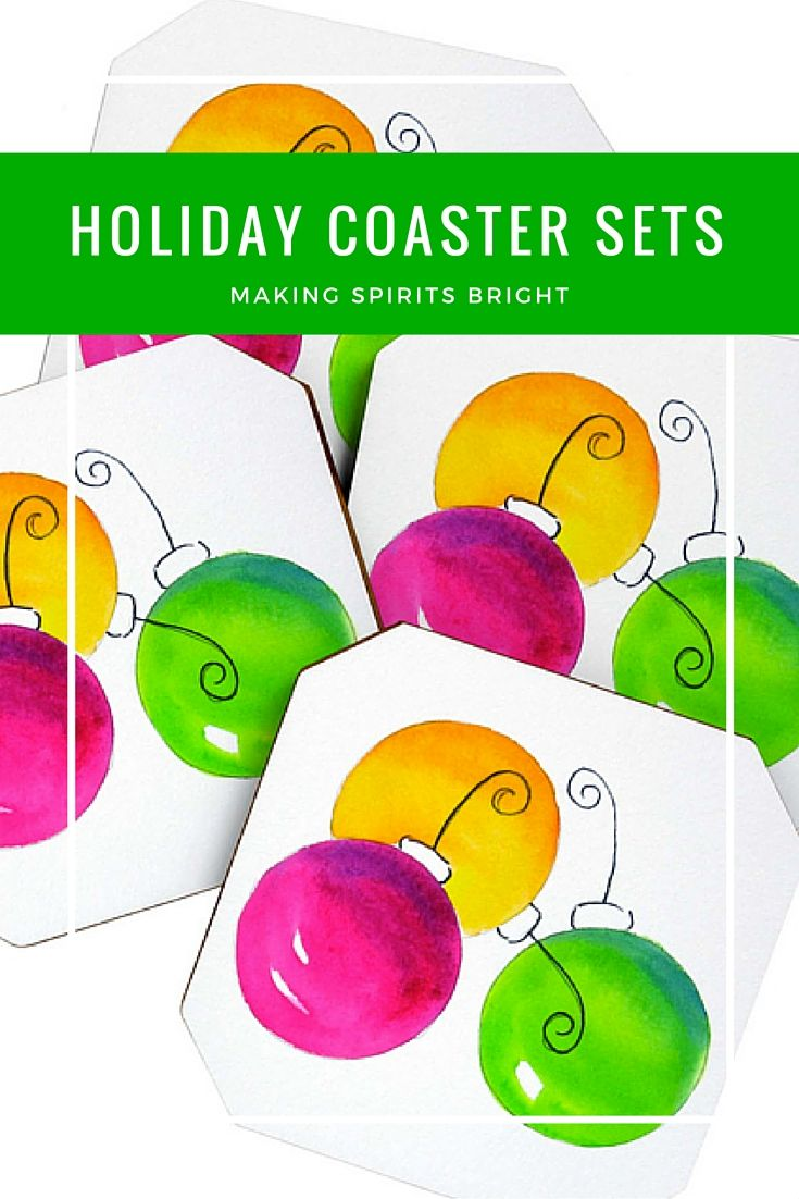Say goodbye to water rings on your furniture this holiday season. Introducing Holiday coaster sets now available. Make your spirits bright with these colorful ornament coasters. The perfect hostess gift idea.