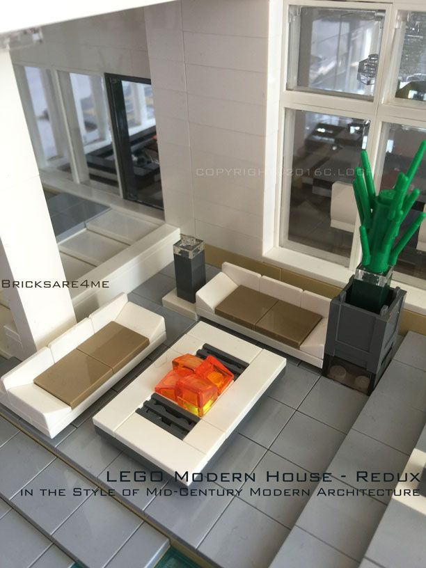 """LEGO Modern House - Redux - in the Style of Mid-Century Modern Architecture by Bricksare4me - as seen at BrickCan 2016 in Vancouver BC - awarded """"Best Edifice"""" - backyard patio and firepit"""